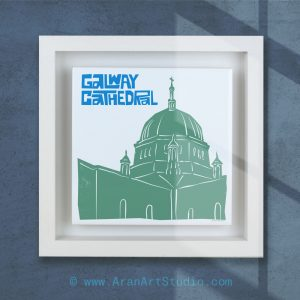 Galway Cathedral Ceramic Tile Art in a real wood frame. Galway, Ireland. On Irelands Wild Atlantic Way.