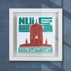 NUIG, National University of Ireland, Galway. Modern ceramic art framed in a real wood box frame. Handmade in Galway Ireland.
