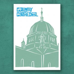Galway Cathedral linotype illustration poster. A3 and A2 Poster size - with framing option. Handmade in Galway Ireland.