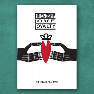 Claddagh Ring Print Poster on archival paper with archival ink. Handmade in Galway Ireland, on Irelands Wild Atlantic Way.