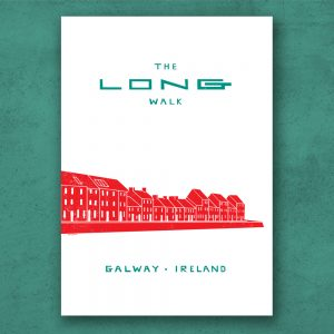 The Long Walk, Galway, Ireland. Print Poster on museum quality paper with archival inks. Designed and made in Galway Ireland.