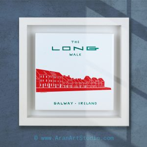 The Long Walk, Galway. Ceramic Art made in Galway, Ireland. Framed or unframed.