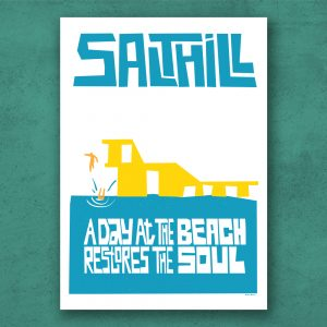Salthill, Galway, Ireland. Poster print on special paper using archival ink, handmade in Galway Ireland.