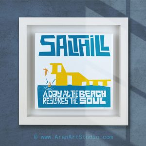 Salthill Galway Diving Board. Ceramic art framed in a real wood frame, made in Ireland.