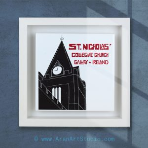 St. Nicholas Collegiate Church, Galway, Ireland. Framed ceramic art in a real wood frame, handmade in Galway, Itreland.