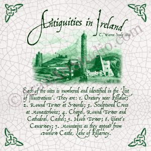 Antiquities in Ireland - Framed Irish Ceramic Art