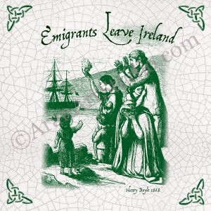 Emigrants leaving Ireland during the famine. Framed Irish Ceramic Art