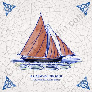 Full colour illustration of the famous Galway Hooker. Framed Ceramic Irish art.