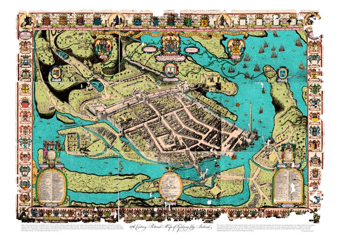Pictorial Map of Galway city from the 17th Century. Coloured map available at Surnamecrest.com