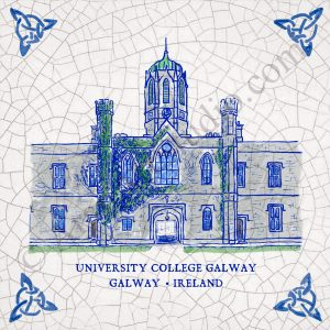 NUIG National University of Ireland, Galway. Full colour painting on a framed ceramic