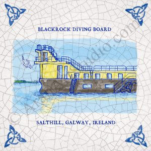 Illustration of Blackrock Diving Board, Salthill, Galway Ireland. Modern framed Irish art.