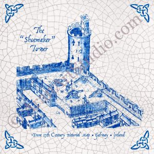The Shoemaker Tower -- 17 century pictorial map, Galway, ireland. Framed ceramic art.