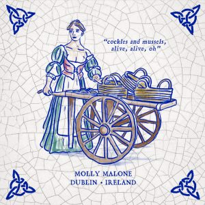 Molly Malone illustration gift. Molly Malone Ireland.