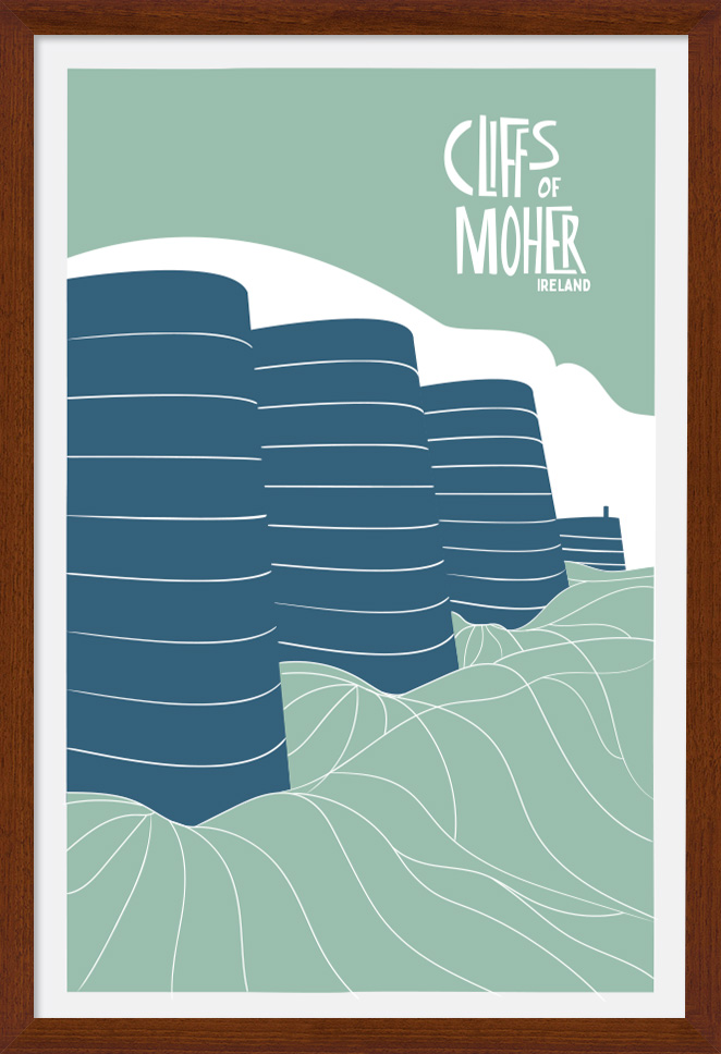 303 - The Cliffs of Moher Ireland. Large artist Poster Print with a Brown Wood frame. Aran Art Studio.