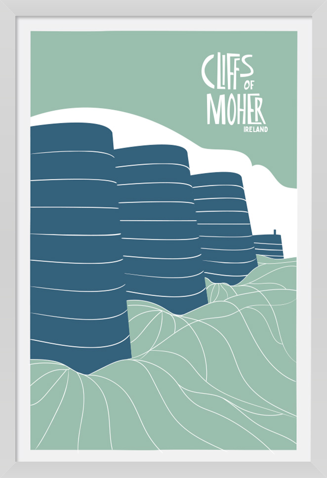 303 - The Cliffs of Moher Ireland. Large artist Poster Print with a white frame. Aran Art Studio.