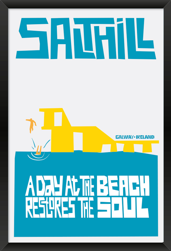 Salthill Galway Art Poster in Black Frame.