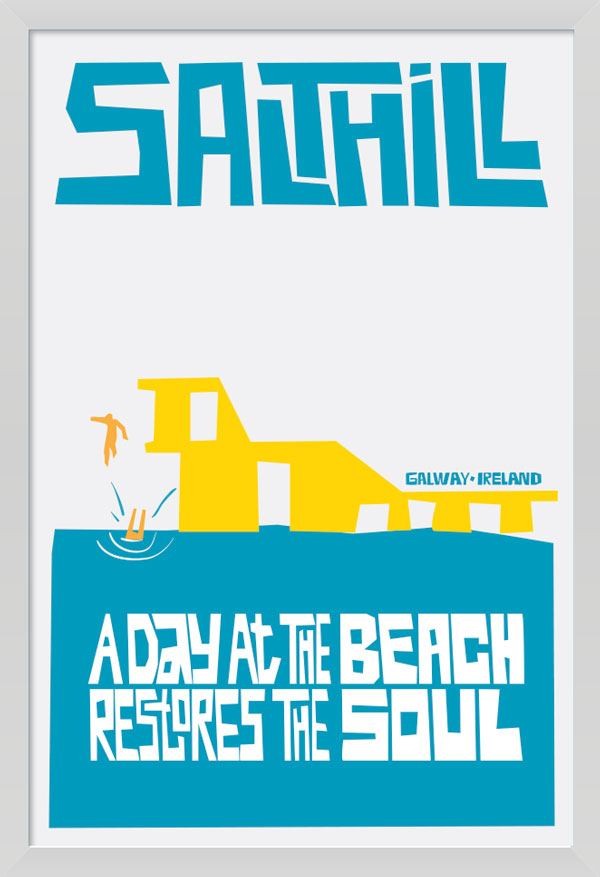 Salthill Galway Art Poster in white Frame.
