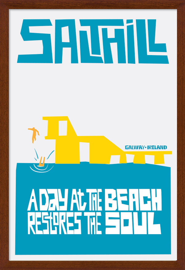 Salthill Galway Art Poster in Wood Frame.