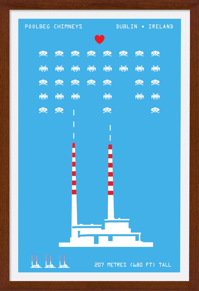 The Poollbeg Chimneys - Fun Art Print in a wood Frame.. Icon twin chimneys of the Dublin skyline.