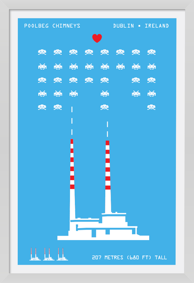 The Poollbeg Chimneys - Fun Art Print. Icon twin chimneys of the Dublin skyline.