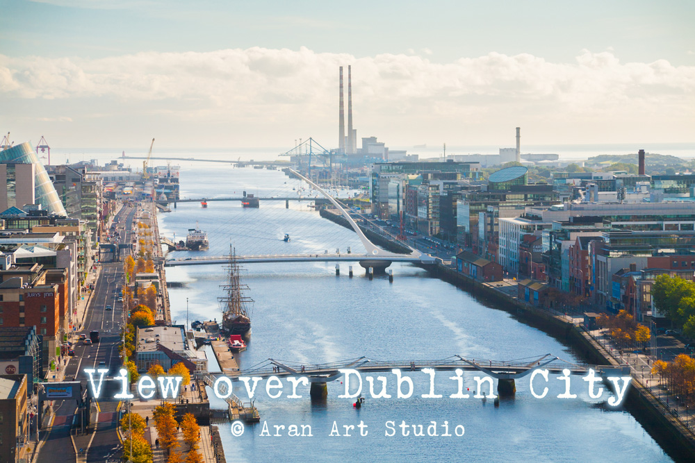 View over Dublin City, Ireland with The Poolbeg Chimneys in the background.