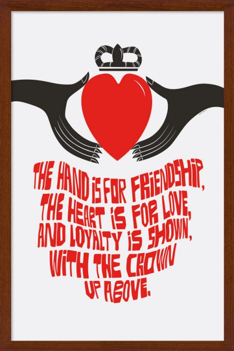 Claddagh Ring Poster in Wood Frame