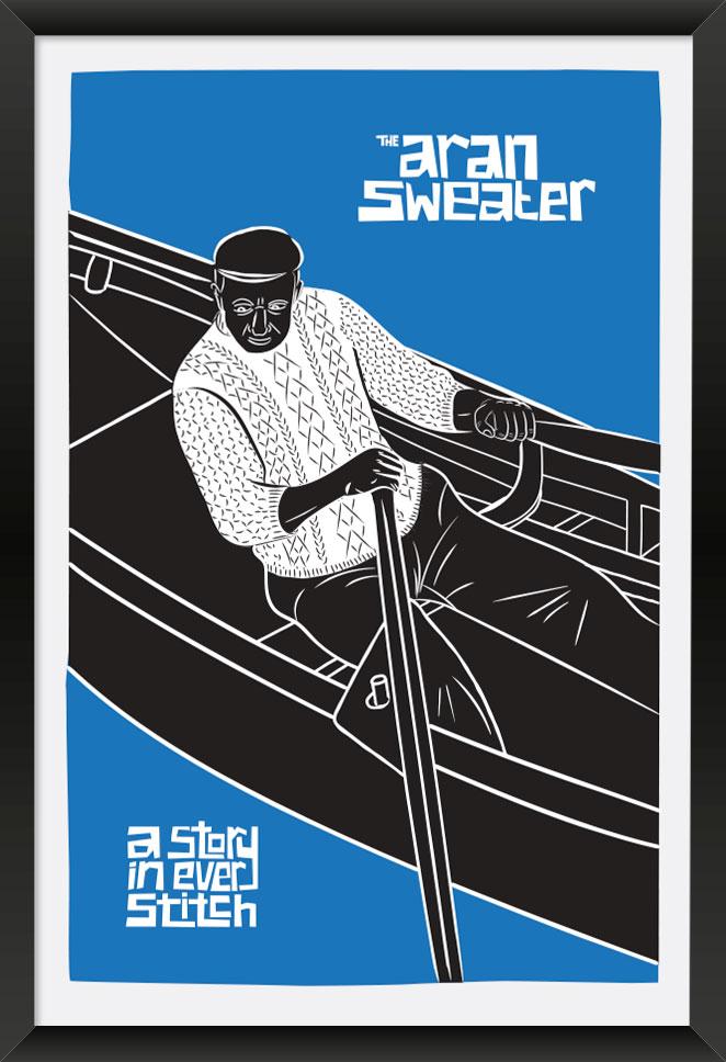 Aran Sweater Black Frame. Large Poster Artwork