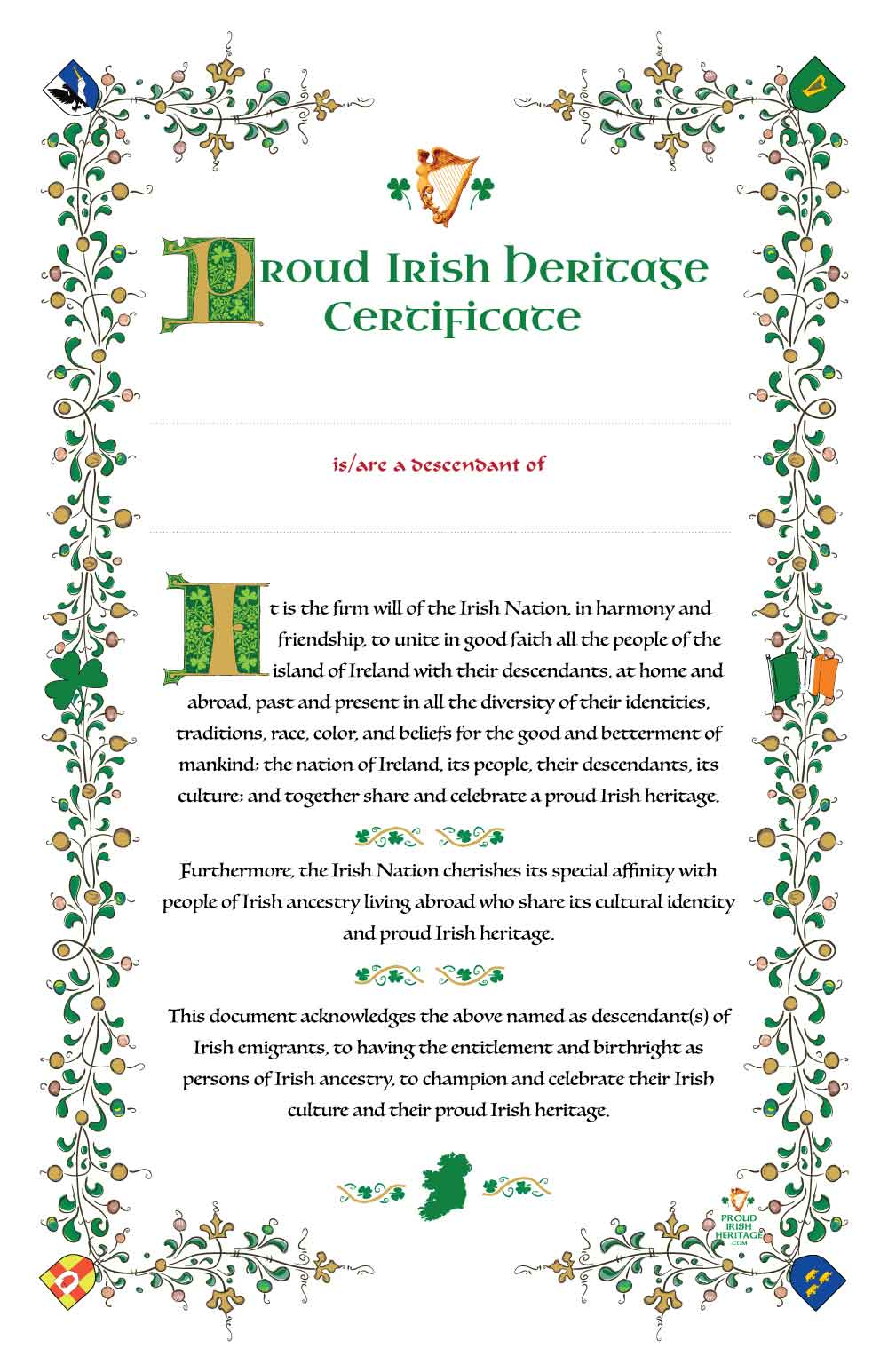 The Proud Irish Heritage Certificate Scroll. Proud of our Irish Heritage.