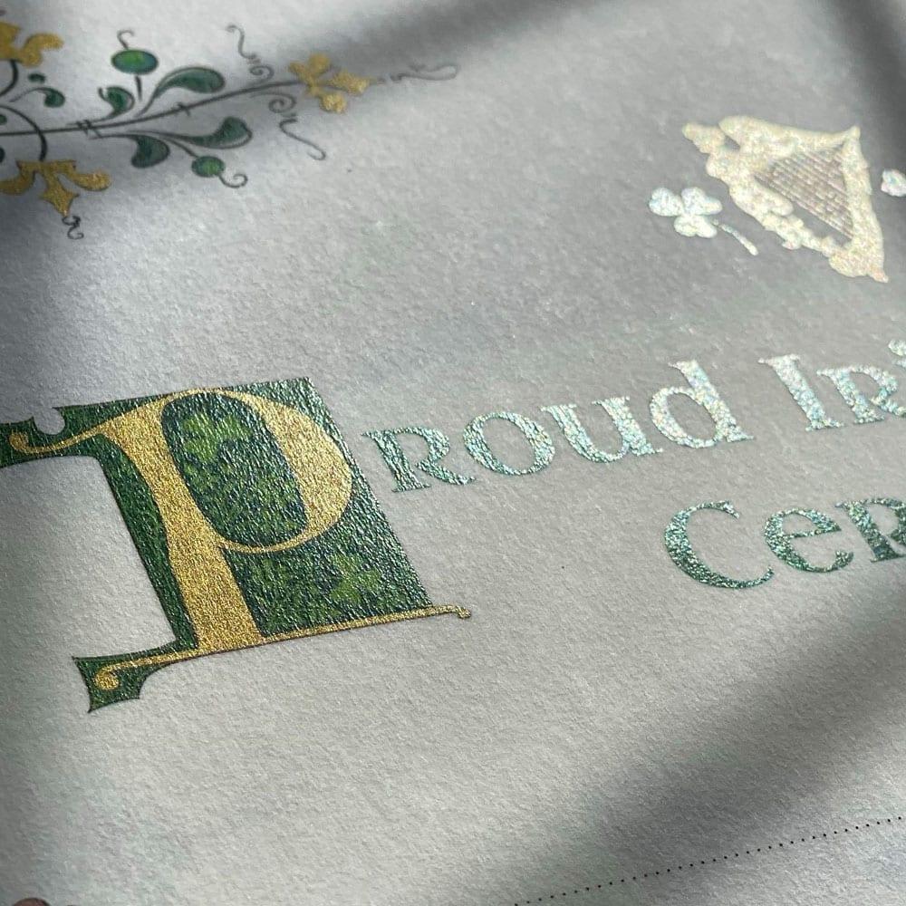Gilded- Gold Irish Lettering - Proud Irish Heritage Gift.