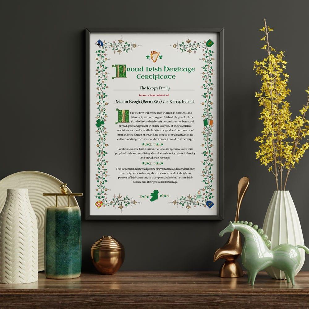 Irish Heritage Certificate.