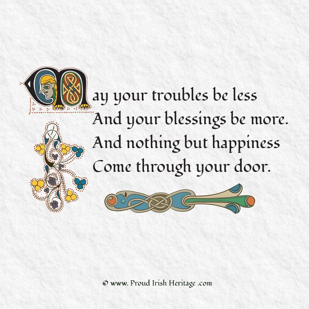 May your troubles be less- Calligraphy worksheets. Proud Irish Heritage Gifts.