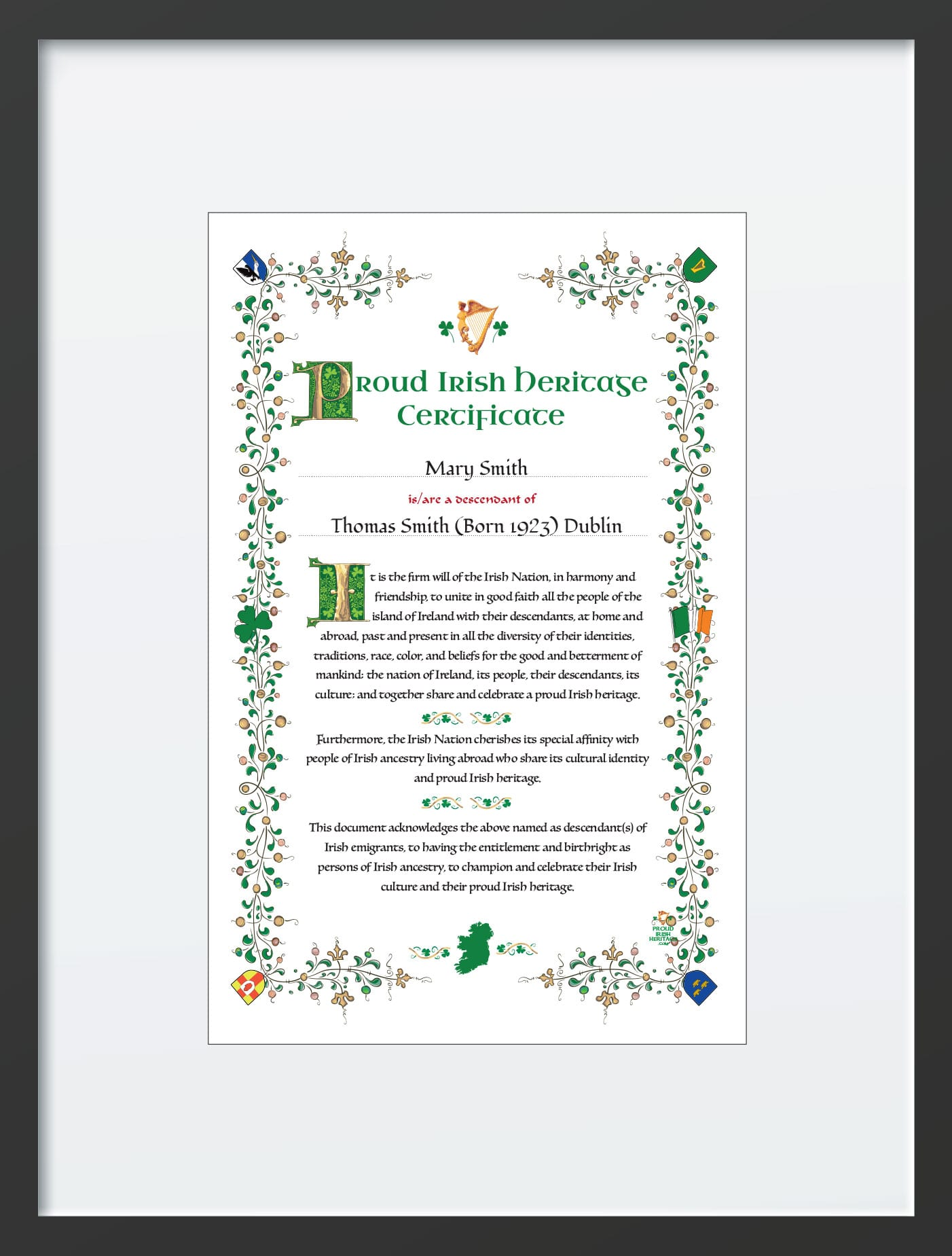 Proud Irish Heritage in Irish Picture frame 18 x 24 inch frame.