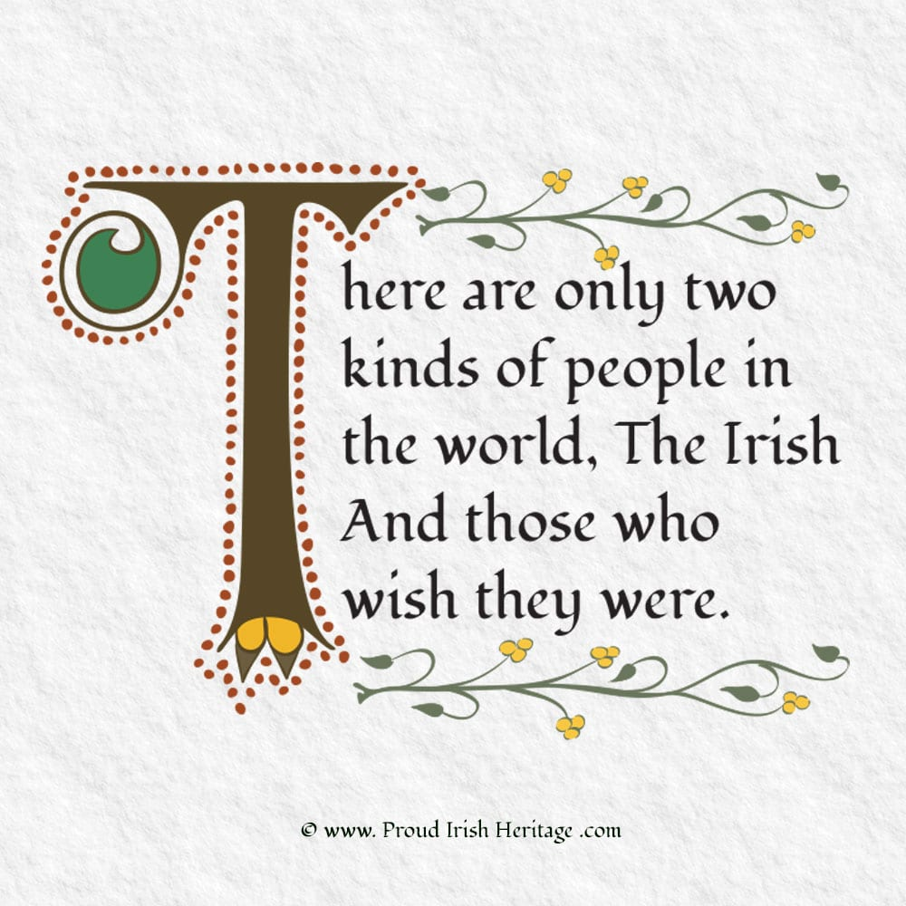Thee are only two types of people. Proud Irish Heritage artwork gift.