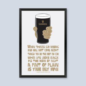 Pint of Guinness Irish Poster Print.