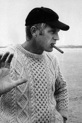 Actor Steve McQueen wearing the Aran Sweater.